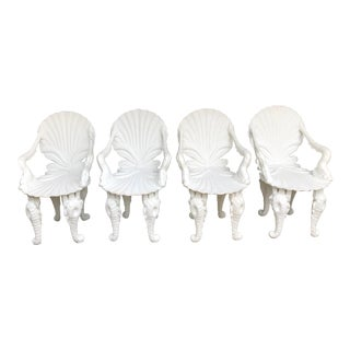 Early 20th Century Vintage Painted White Carved Wood Grotto Armchairs- Set of 4 For Sale