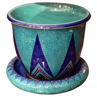 German Geometric Art Deco Planter Bowl and Plate For Sale