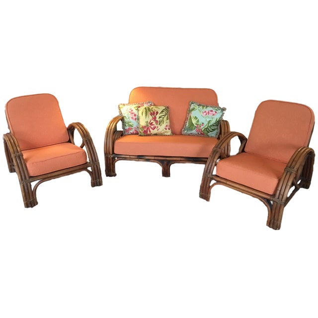 Vintage Mid Century Rattan Set Chairs & Loveseat For Sale - Image 13 of 13