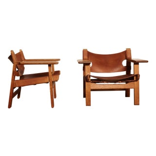 Pair of Borge Mogensen Spanish Chairs, Denmark, 1950s-1960s For Sale
