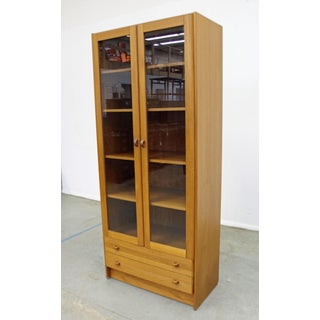 Mid-Century Danish Modern Domino Glass Door Teak Bookcase Cabinet Preview