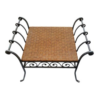 Bamboo & Wrought Iron Vanity Stool