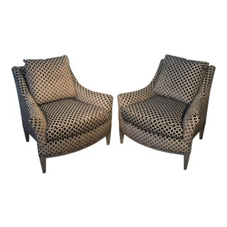 Modern Theodore Alexander Riley Splayed Arm Upholstered Lounge Chairs- A Pair For Sale
