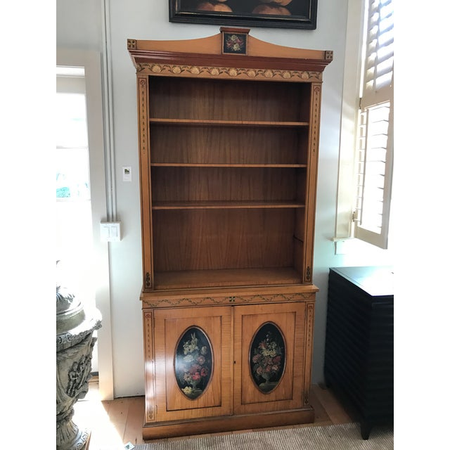 Regency-Style Satinwood Floral Bookcase - Image 2 of 10