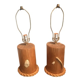 Pair of Nautical Rustic Wood & Rope Lamps For Sale