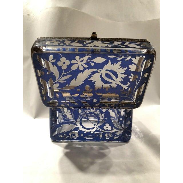 Antique Bohemian Glass Sugar Casket/ Jewelry/Vanity/Trinket Box For Sale - Image 9 of 13
