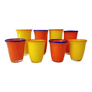 Dansk Boarderline Contemporary Orange and Yellow Tumblers and Rocks Glasses- Set of 8 For Sale