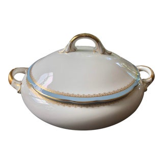 Coalport Porcelain Bone China Gilt Covered Serving Dish For Sale