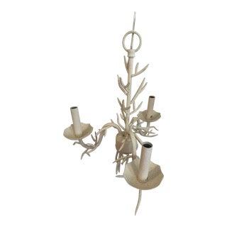 Ballard Designs Adjustable Three Arm Faux Coral Chandelier For Sale
