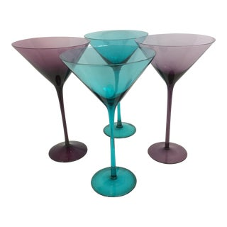 Large Hand Blown Crystal Teal & Purple Martini Glasses - Set of 4