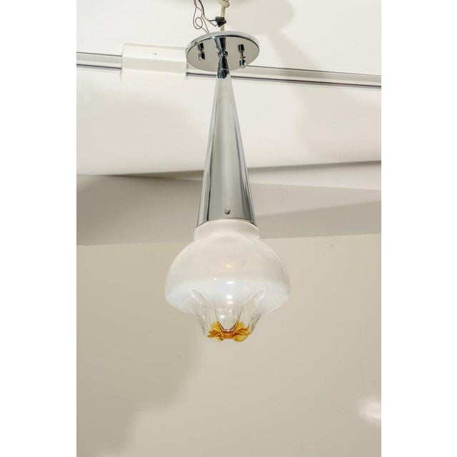Murano Mazzega Murano Glass and Chrome Mid-Century Chandelier Pendant Lamp For Sale - Image 4 of 10