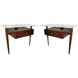 Scapinelli Glass Top Nightstands - a Pair For Sale