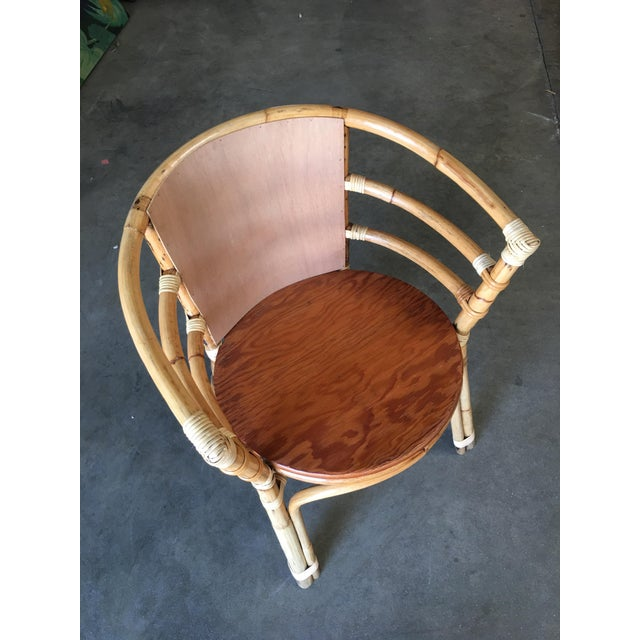 Mid-Century Rattan Barrel Back Armchair W/ Skeleton Arms For Sale In Los Angeles - Image 6 of 8