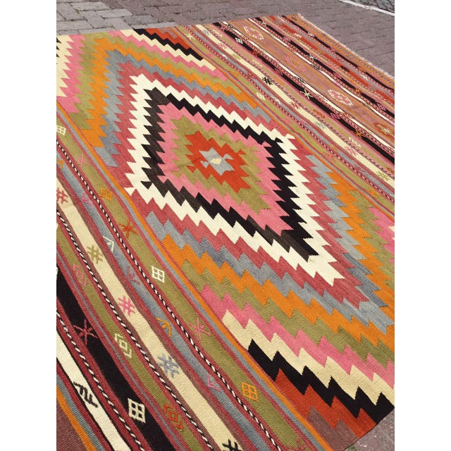 Gorgeous Diamond Turkish Kilim Rug For Sale In Raleigh - Image 6 of 10