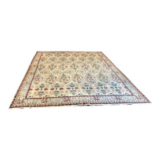 1930s Vintage Persian Tabriz Zelli Pattern Rug - 11′ × 13′ For Sale