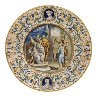 19th Century Hand Painted Majolica Platter From Italy For Sale