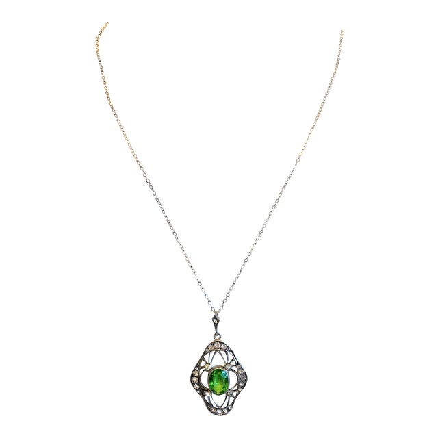 1910s Antique 800 Silver and Peridot Paste Lavaliere Pendant Necklace For Sale