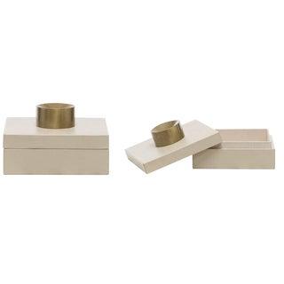 Set of 2 Small Cream Leather Storage Box, Decorative Storage Box, Tarnished Gold Finish For Sale