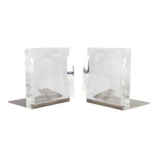 1960's Concave Lens Lucite and Brushed Steel Bookends For Sale