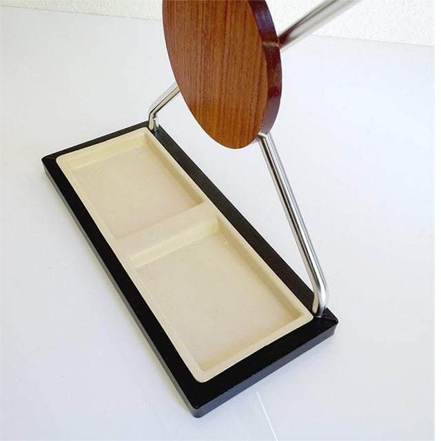 Brown Vintage Danish Midcentury Umbrella Stand in Aluminum and Teak Wood 1960s in Modernist Panton Style For Sale - Image 8 of 10