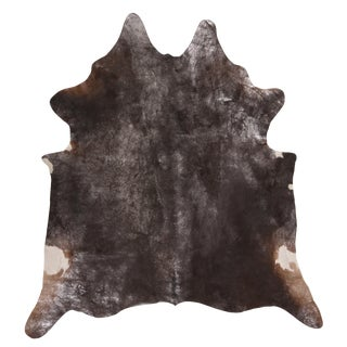 Contemporary Gray and Black Large Leather Cowhide Rug For Sale