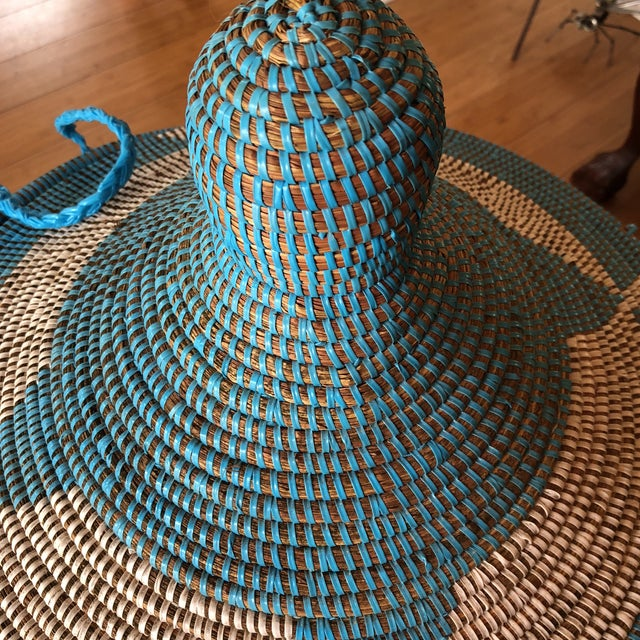 Blue Handwoven Geometric Basket For Sale In Atlanta - Image 6 of 8