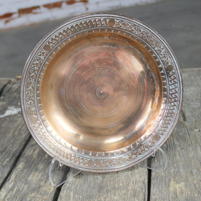 Turkish Ottoman Antique Copper Plate or Dish Hand Forged and Hand Chiseled Tinned For Sale - Image 9 of 13