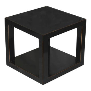 Black Lacquered Cube Table