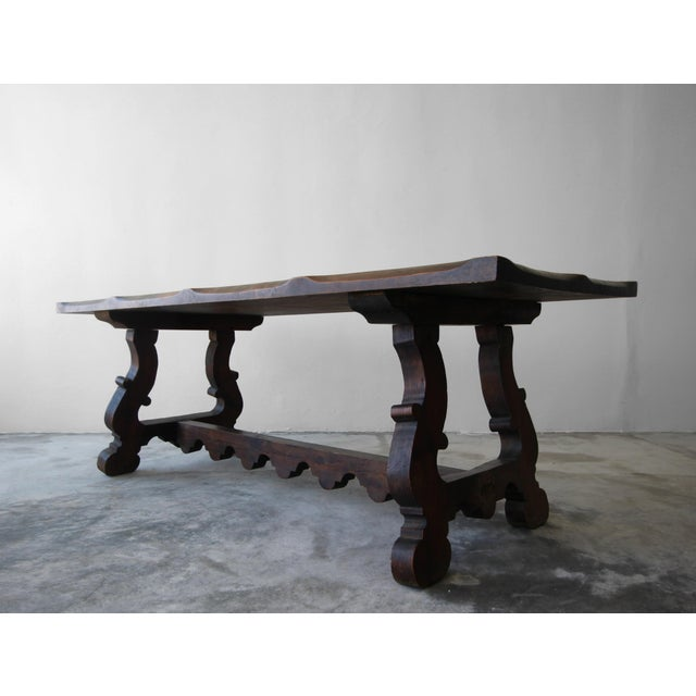 Wood Antique Spanish Industrial Farm Style Trestle Dining Table For Sale - Image 7 of 7