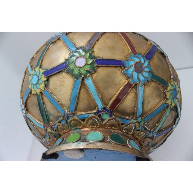 Antique 1920s Chinese Cloisonné Vase in Brass With Crossbanding and Floral Medallions For Sale - Image 12 of 13