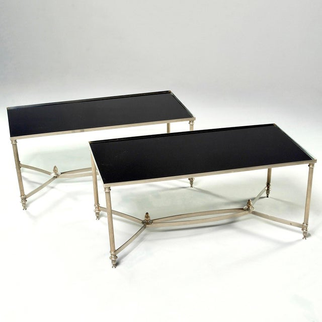 French Maison Baguès Style Black Glass Top Cocktail Tables - Pair For Sale - Image 11 of 11