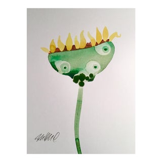 Sunflower Botanical Original Watercolor Painting For Sale