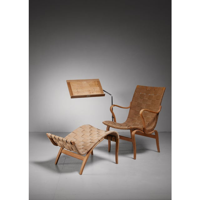 Karl Mathsson Bruno Mathsson reading chair Eva with ottoman, Sweden, 1940s For Sale - Image 4 of 4