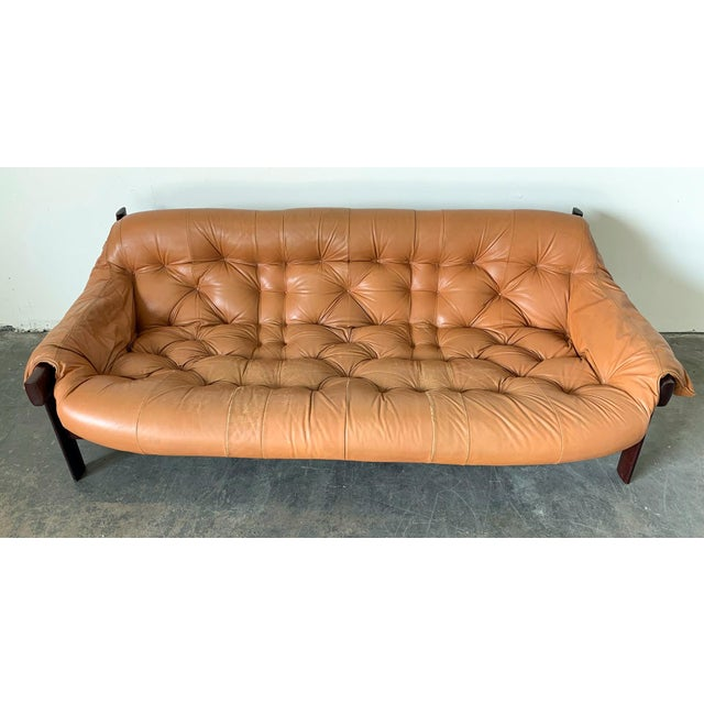 Percival Lafer Cognac Leather and Brazilian Rosewood Sofa Mp-41 Series For Sale In Phoenix - Image 6 of 11