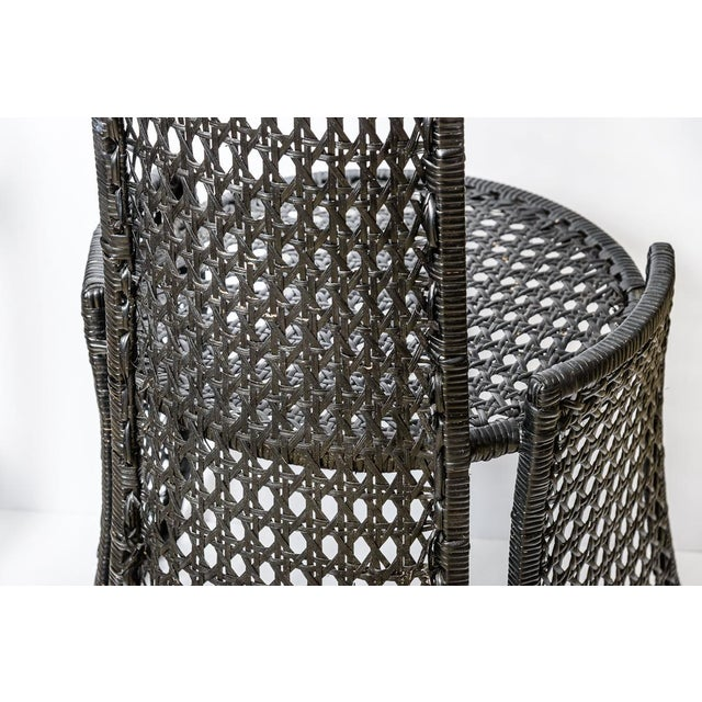 Unusual Mid-Century High Back Black Woven Rattan Cane Chairs, A-Pair For Sale - Image 9 of 13