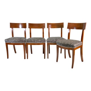 Biedermeier Mahogany Chairs W Spotted Hide and Silver Nailhead For Sale