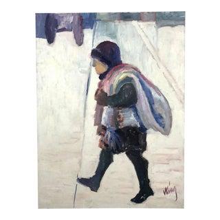 Vintage Mid-Century Modern Signed Original Oil Painting For Sale