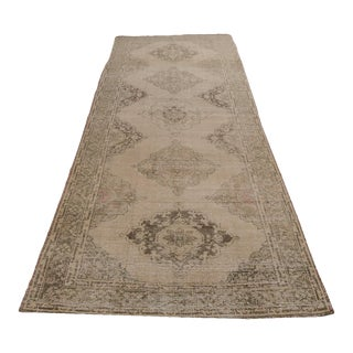 "Vintage Traditional Turkish Distressed Wool Wide Runner - 12'4"" X 4'8"" For Sale"