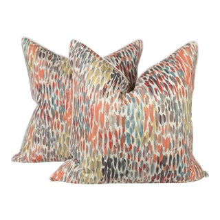 Abstract Linen Watercolor Pillows, a Pair For Sale