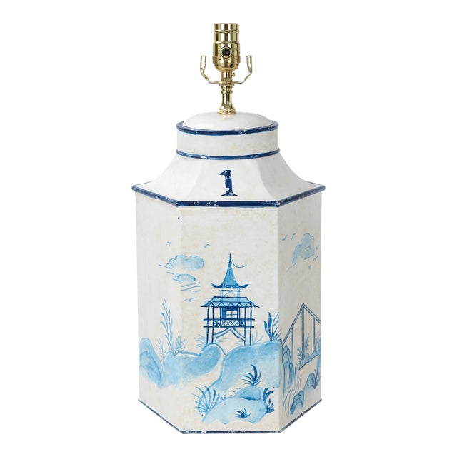 """Vintage Blue & White English Export Chinoiserie Tole Hexagon Tea Caddy Lamp """"#1"""" For Sale"""
