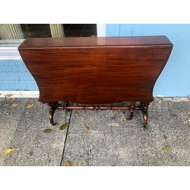 Antique English Mahogany Drop Leaf Table For Sale - Image 4 of 7