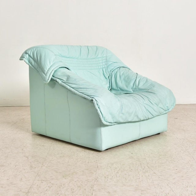 "1980's Vintage Imbottiti Italian Mint Green Leather ""Wilma"" Lounge Chair For Sale - Image 4 of 10"