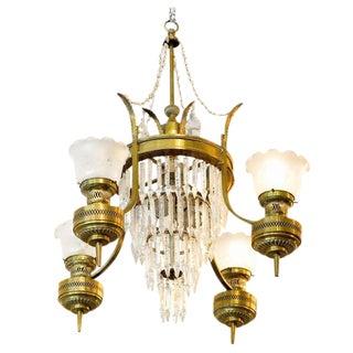 Large Converted Oil Lamp Crystal Chandelier