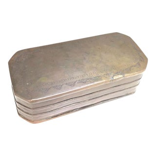 1920s Stamped Brass Hinge-Top Trinket Box For Sale