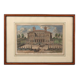 18th Century Italian Villa Borghese, Giuseppe Vasi, Coloured Engraving For Sale