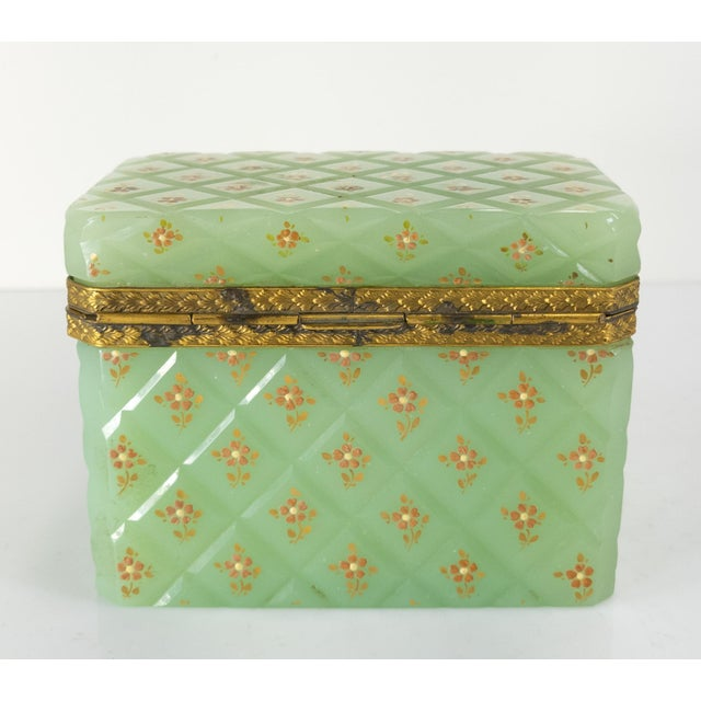 French Bronze Mounted Celadon Green Opaline Trinket Box For Sale - Image 4 of 10