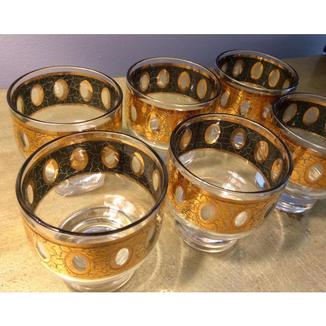 Vintage Culver Pisa Gold Crackle Cocktail Pitcher & Tumbler Glasses Bar Set  - 7 Pc  Set