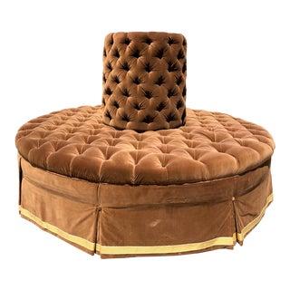 French Silk-Velvet Tufted Circular Sofa