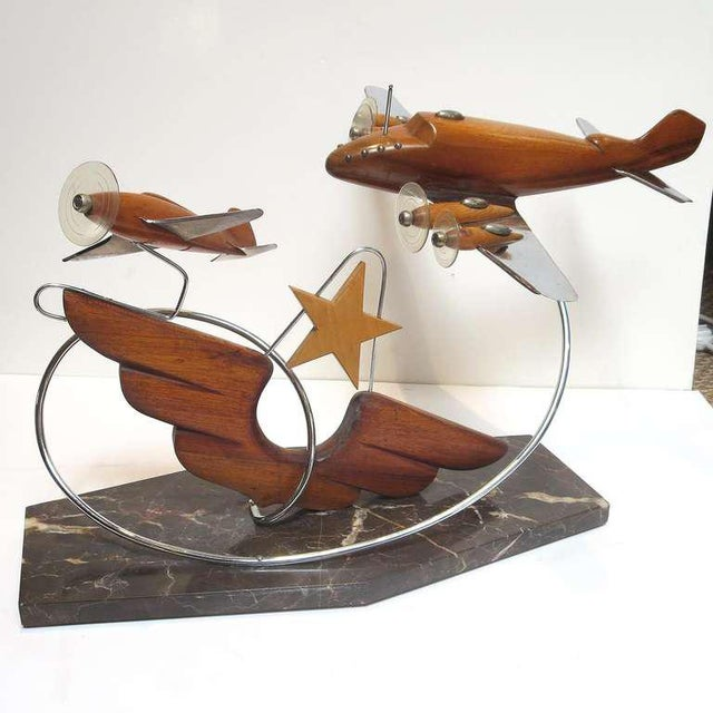 Chrome French Art Deco Airplane Sculpture For Sale - Image 7 of 7