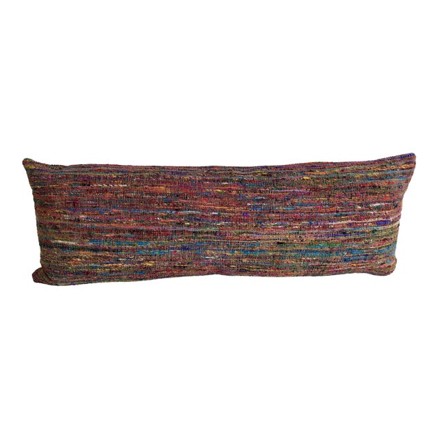Hand-Woven Silk and Linen Pillow For Sale